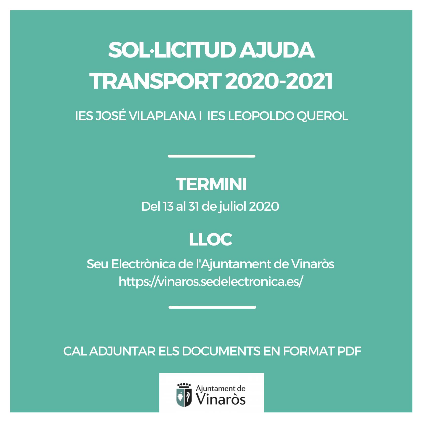 S'obri el termini per sol·licitar les ajudes al transport del curs 2020-2021