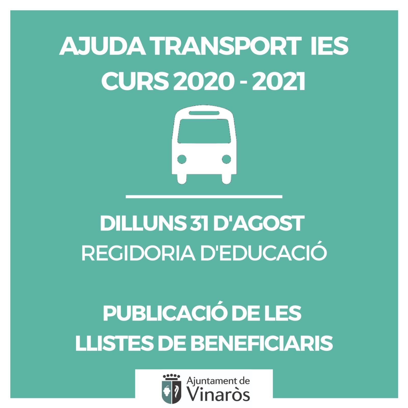 Ajuda Transport IES, curs 2020-2021